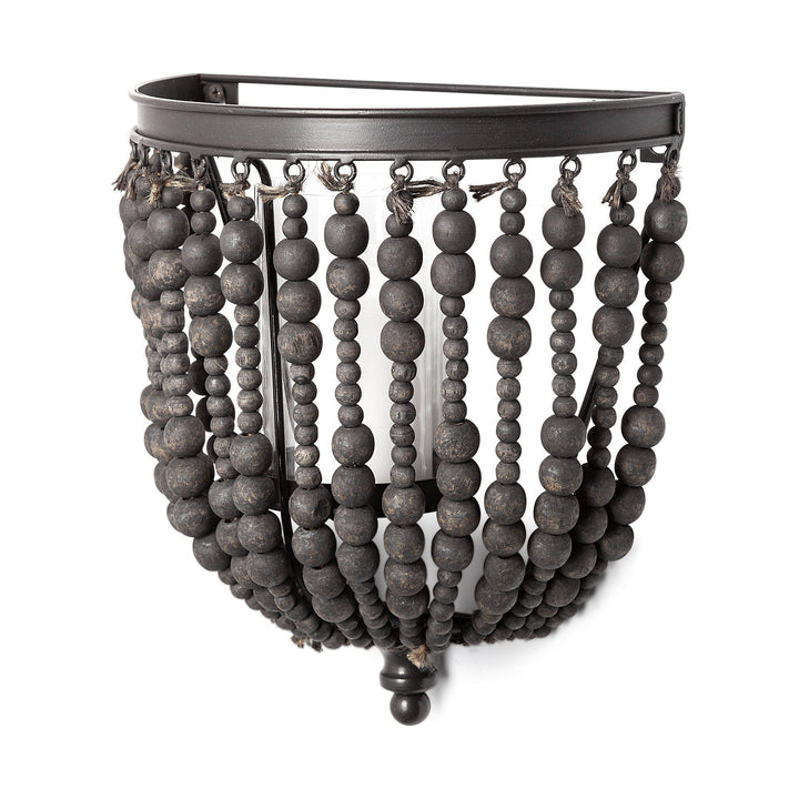 Liam Wooden Bead Candle Holder (Black) | Wall Accent | parker-gwen