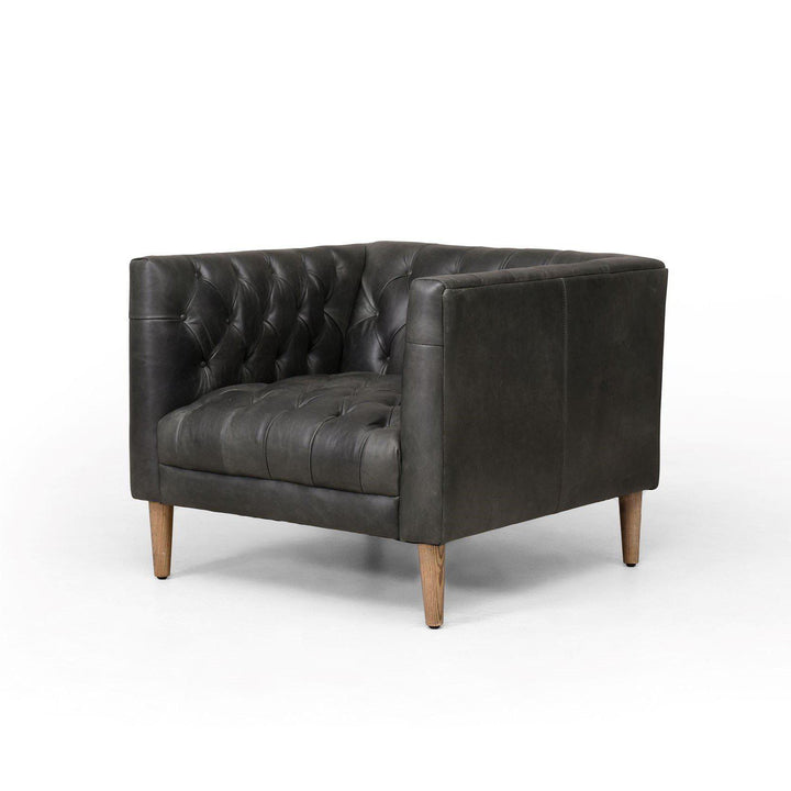 Williams Leather Tufted Chair (Washed Ebony) | Accent Chair | parker-gwen