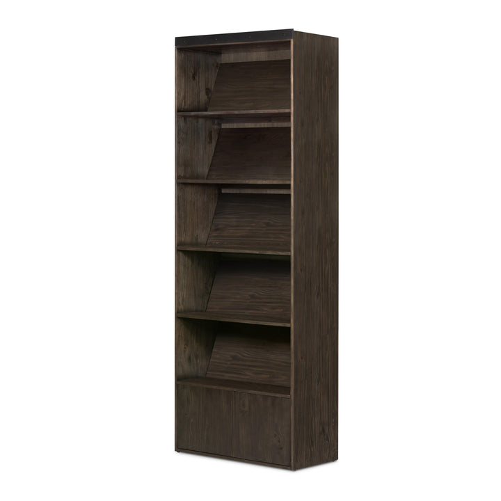 Bane Bookshelf with Optional Ladder (Dark Charcoal) | Bookcase | parker-gwen.