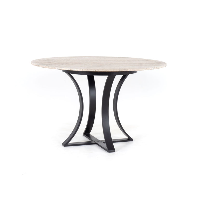"Gage 48"" Round Dining Table (White Travertine)"