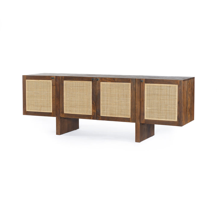 "Goldie 74"" Cane Wood Media Console"