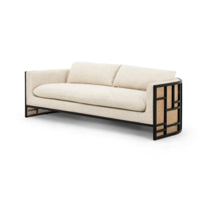 "June 81"" Cane Wood Sofa (Brushed Ebony)"