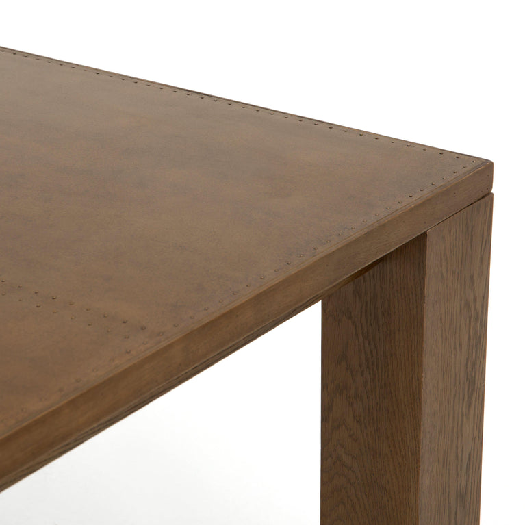 "Bettina 87"" Dining Table (Bright Brass Clad)"