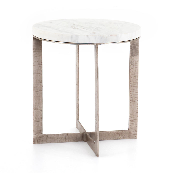 Lennie Round Marble Top Nightstand