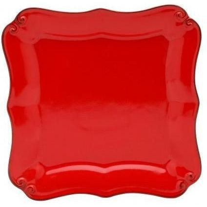 Vintage Port Square Salad Plate: Set of 4 (Red)-Plate-Parker Gwen