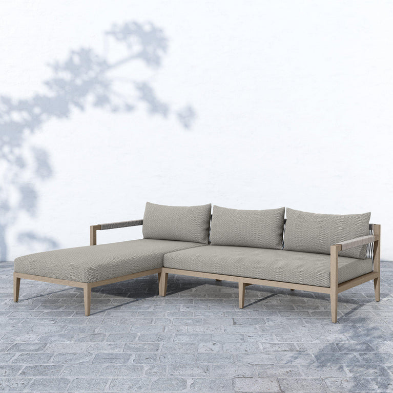 Sherwood Left or Right Chaise Sectional (Washed Brown & Stone Grey)