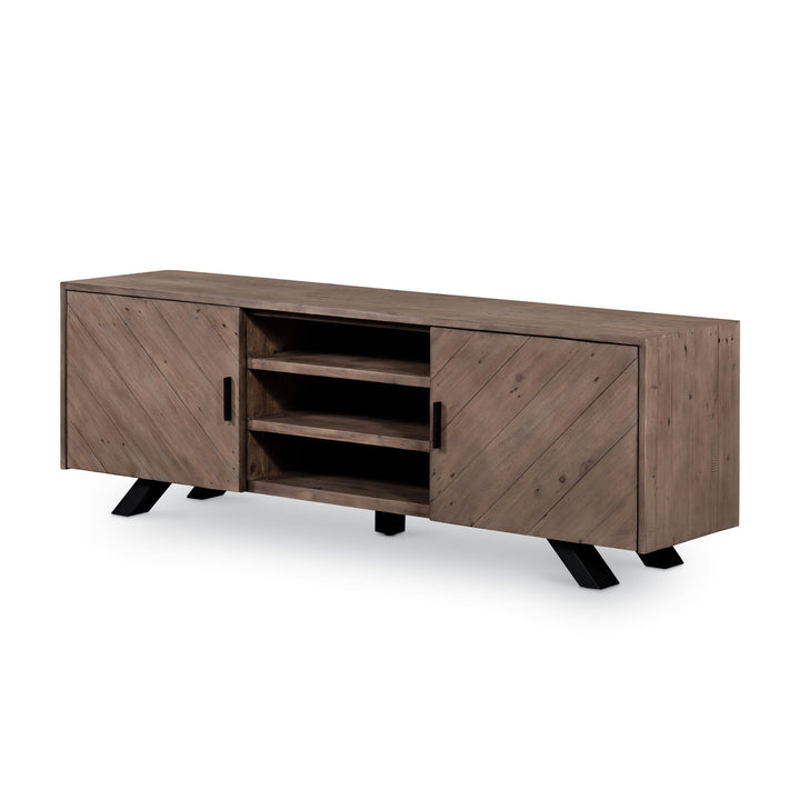 "Viva Chevron Reclaimed Wood 63"" Media Cabinet (Sundried Ash) 