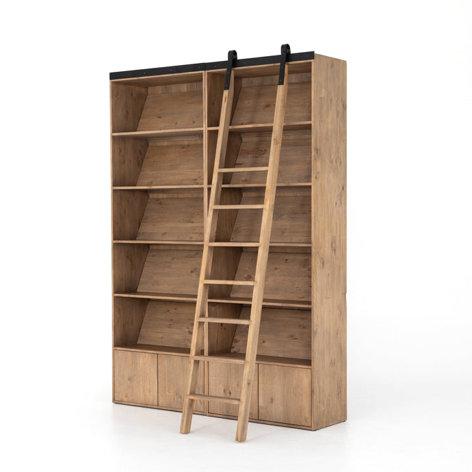 Bane Double Bookshelf with Ladder (Smoked Pine) | Bookcase | parker-gwen.
