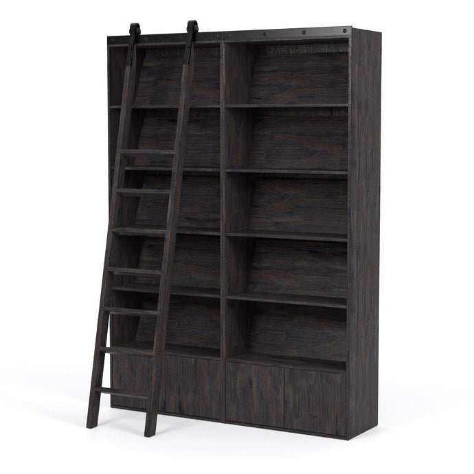 Bane Double Bookshelf with Ladder (Dark Charcoal) | Bookcase | parker-gwen.