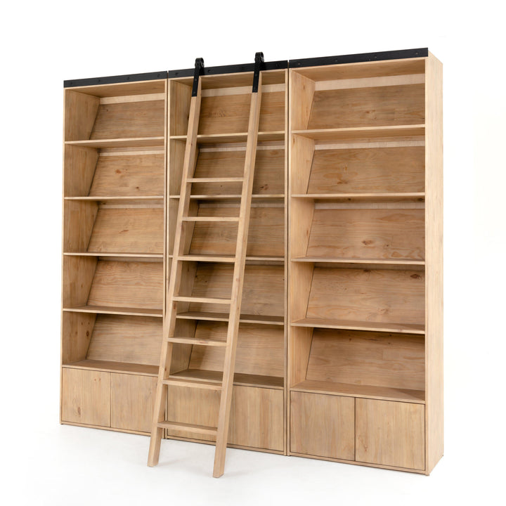 Bane Triple Bookshelf with Ladder (Smoked Pine) | Bookcase | parker-gwen.