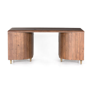 "Lineo 69"" Reclaimed Wood Executive Desk (Burnt Oak)"