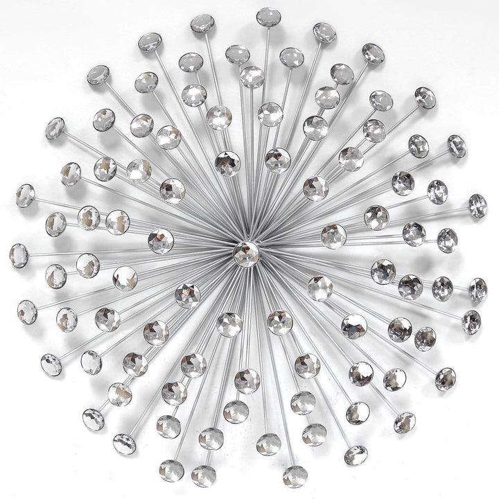 "24"" Silver Acrylic Burst Wall Décor-Wall Accent-Parker Gwen"