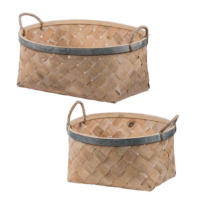 Ella Bamboo & Iron Baskets (Set of 2) | Basket | parker-gwen