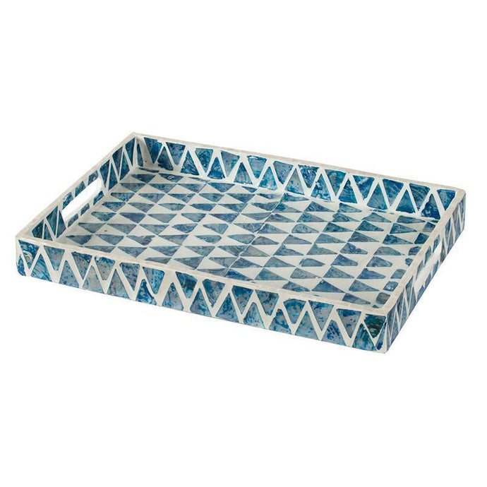 Mosaic Pearl Blue & White Tiled Tray - 2 Sizes | Tabletop | parker-gwen
