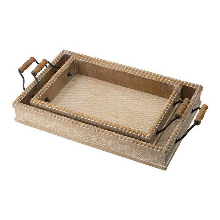 Beaded Wooden Decorative Trays - Set of 2