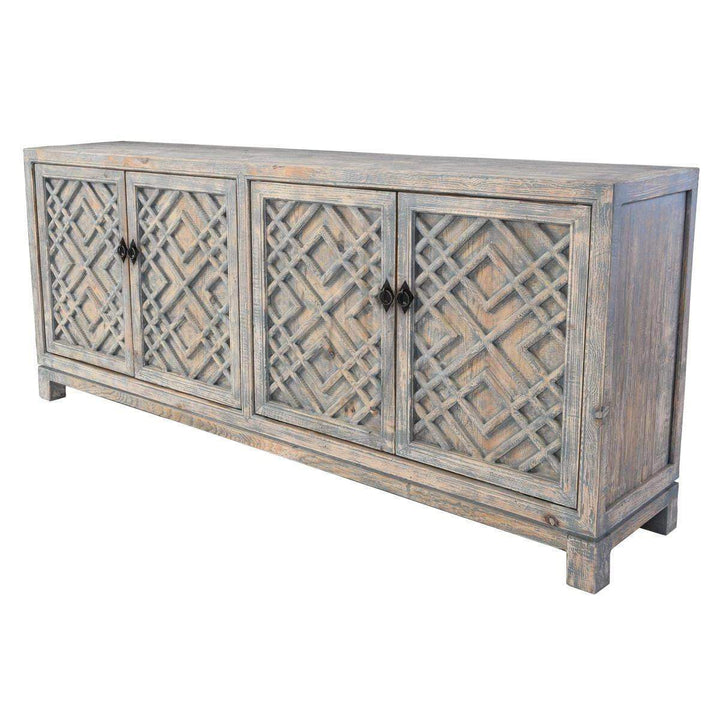 "Antigua 85"" 4 Door Sideboard (Distressed Blue) - Parker Gwen"