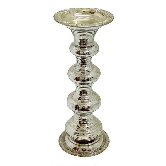 Pillar Antiqued Silver Glass Candle Holder (12