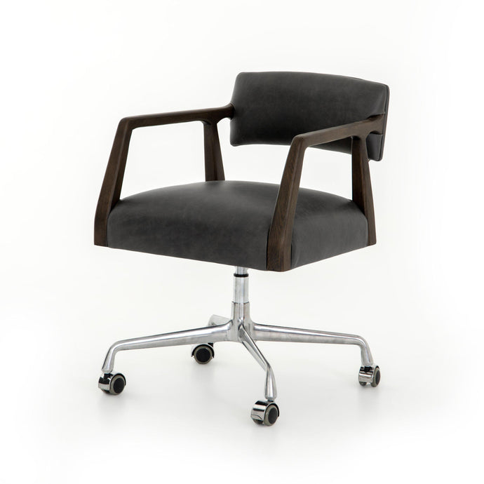 Tyler Desk Chair (Chaps Ebony Leather) - Abbott | Desk Chair | parker-gwen
