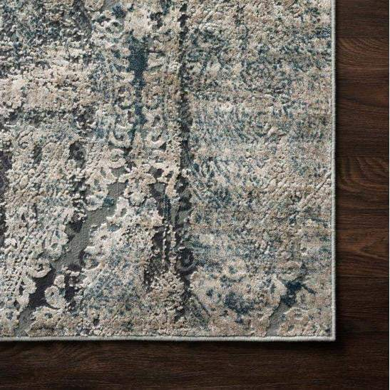 Cascade Viscose Rug Collection - Multiple Sizes & Runners (Taupe/Blue)