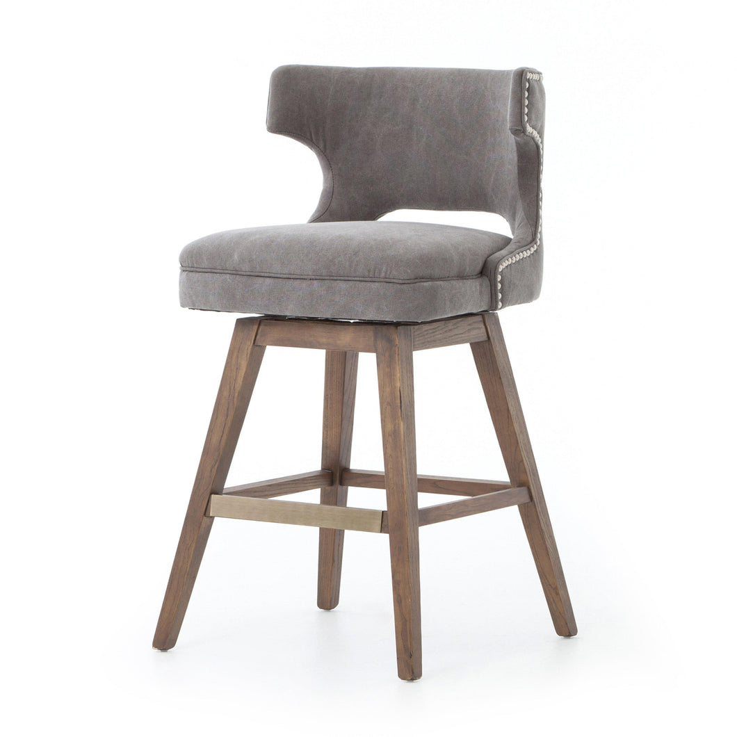 Task Bar & Counter Stool with Swivel Base (Dark Moon Canvas) - Ashford
