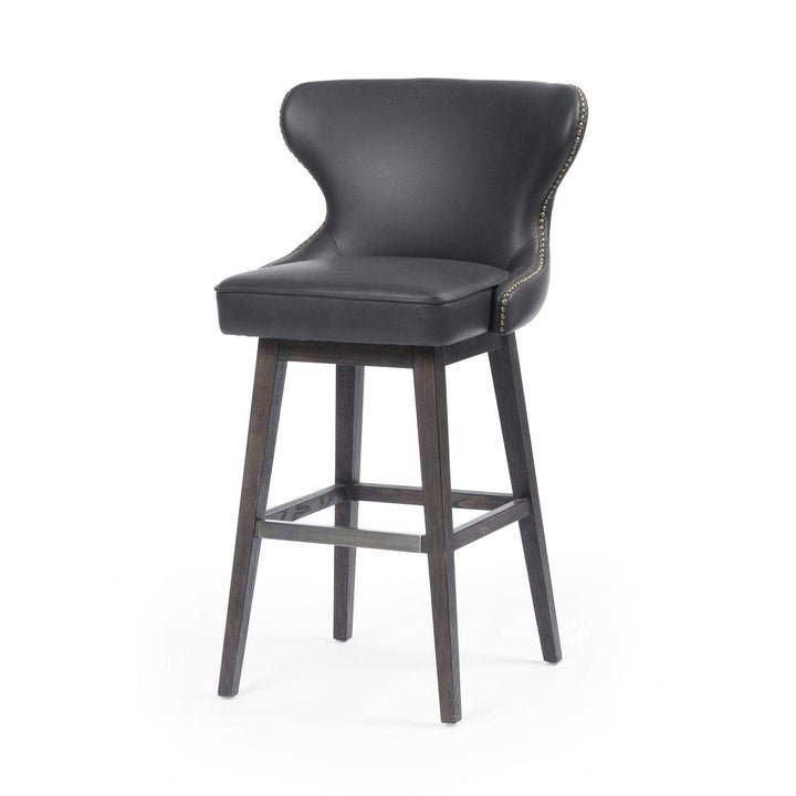 Julie Leather Swivel Counter & Bar Stool (Distressed Black) - Parker Gwen