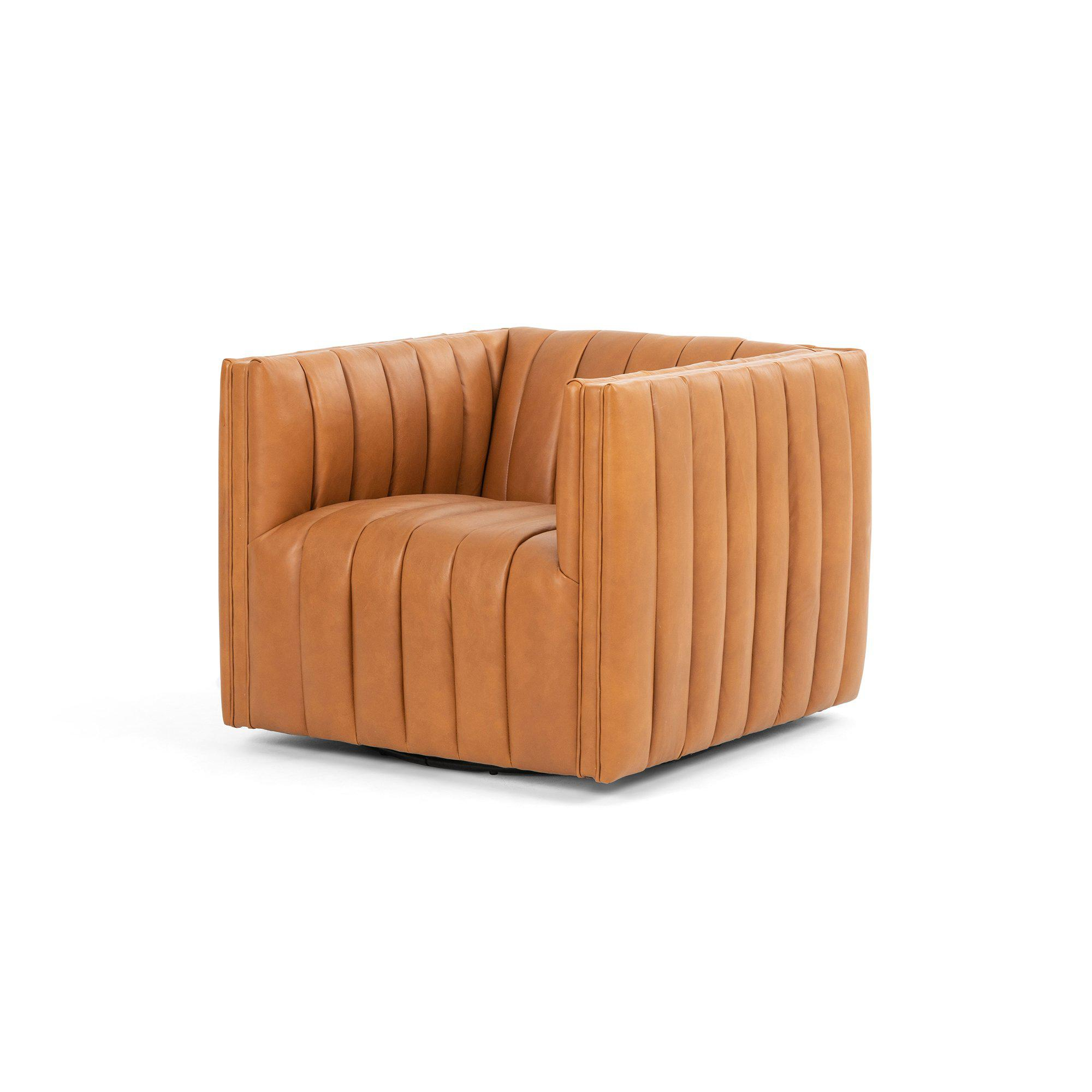 Augustine Top-Grain Leather Swivel Chair (Hudson Lager) | Accent Chair | parker-gwen