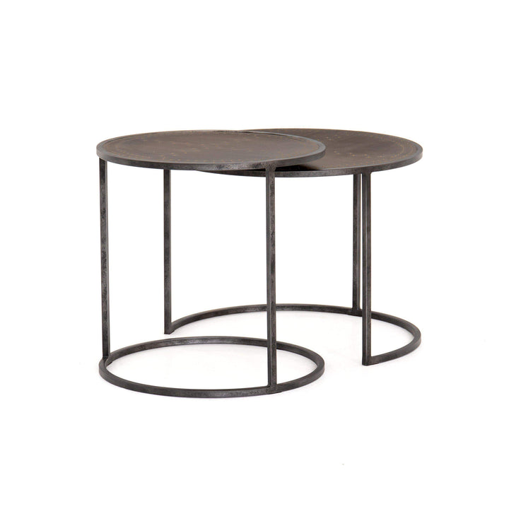 Catalina Nesting End Table (Antique Brass Clad) - Parker Gwen