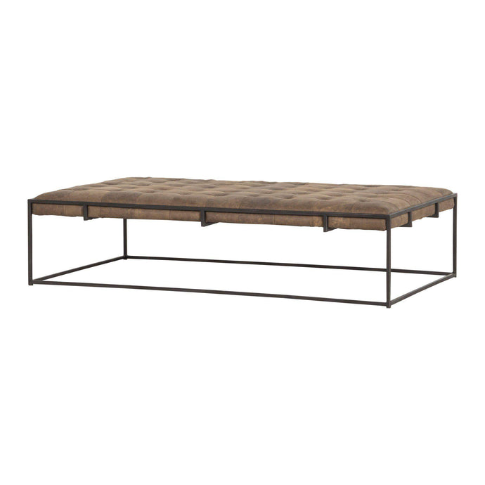 Oxford Leather Coffee Table (Umber Grey) - Irondale Collection - Parker Gwen