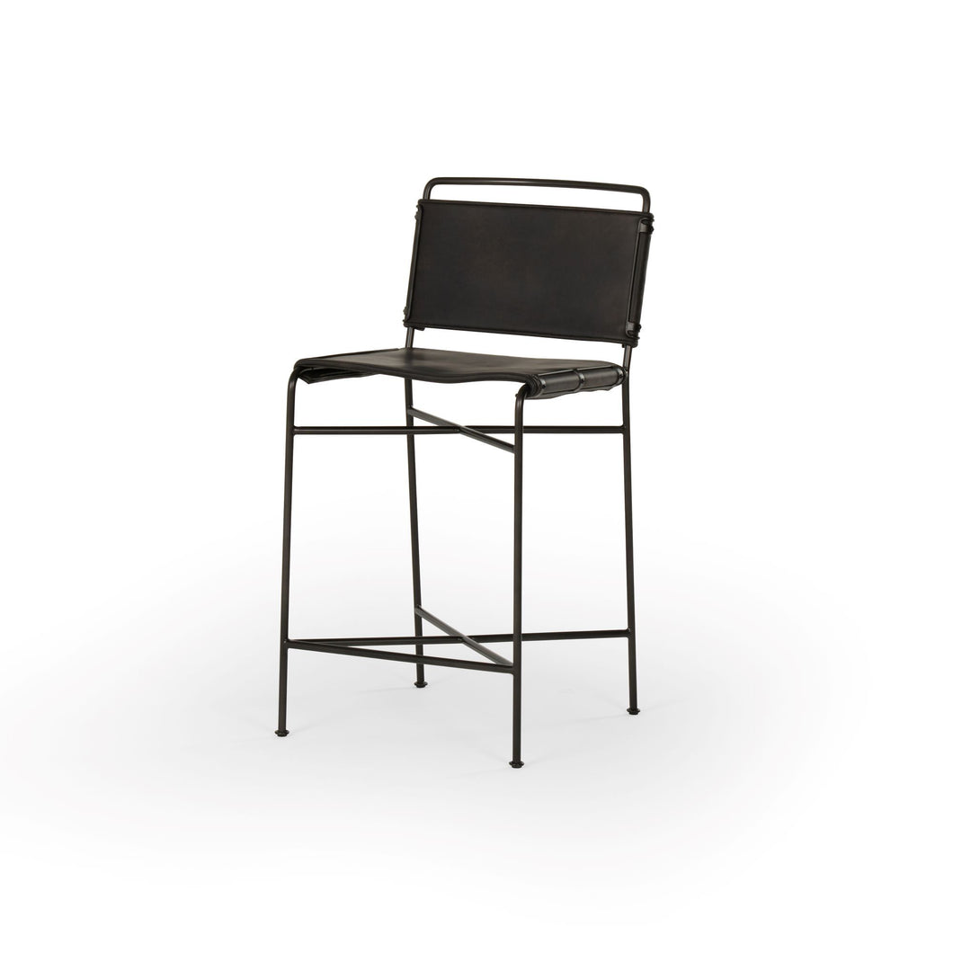 Wharton Counter or Bar Stool (Distressed Black)
