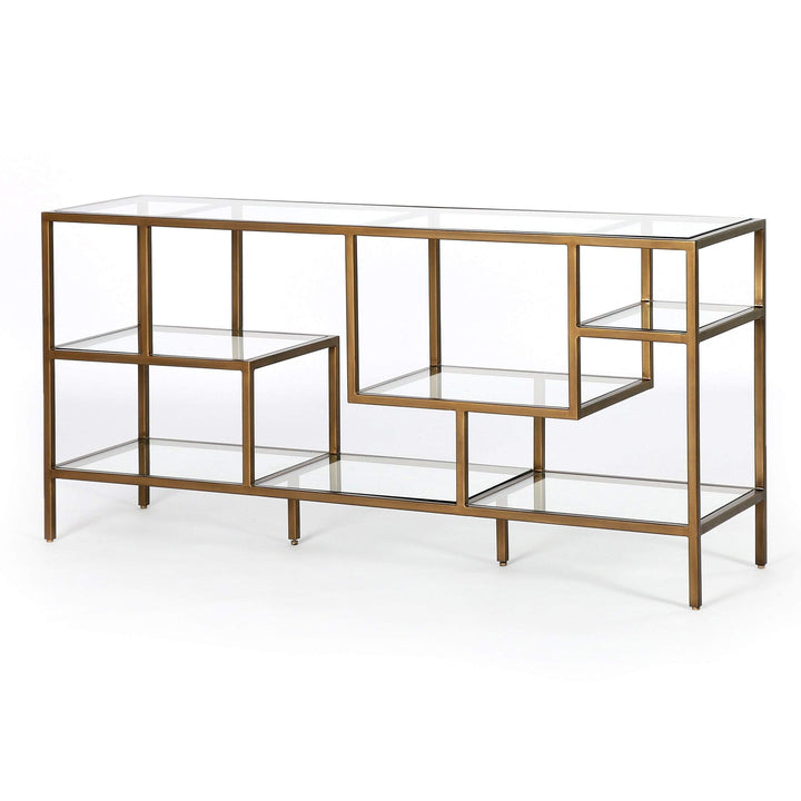 "Helena 60"" Brass Media Console (Antique Brass) - Parker Gwen"