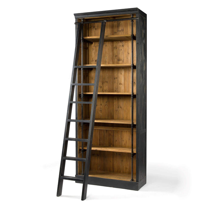 Ivy Bookcase: Option with Ladder (Matte Black)- Irondale Collection