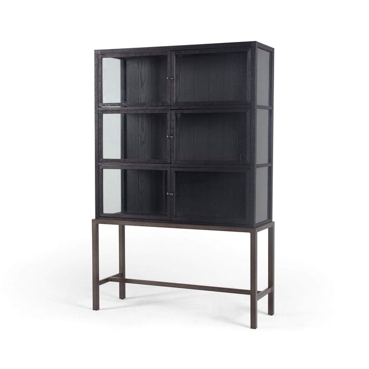 Spencer Curio Cabinet (Drifted Black) - Irondale Collection - Parker Gwen