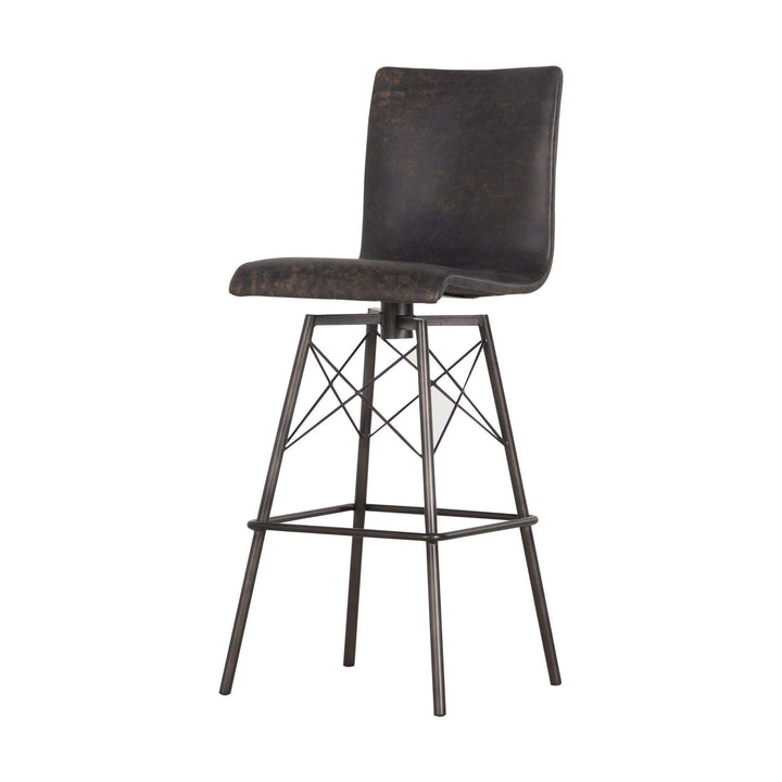 Diaw Leather Bar & Counter Stool (Black) - Irondale - Parker Gwen
