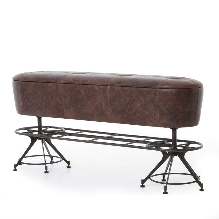 "Giles 62"" Leather Counter Bench (Havana/Waxed Black)"