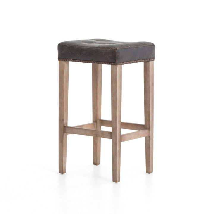 Sean Leather Bar & Counter Stool with Kickplate (Destroyed Black) - Ashford
