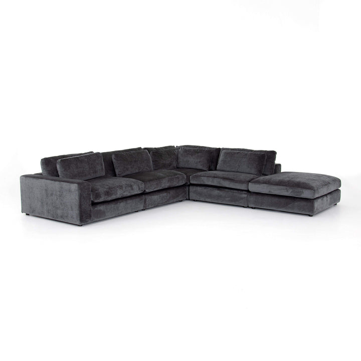 Bloor 4-Piece Sectional with Ottoman (Charcoal Velvet) - Kensington Collection