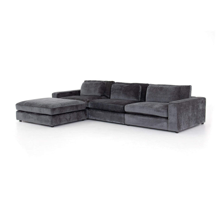 Bloor 3-Piece Sectional Left or Right with Ottoman (Charcoal Velvet)