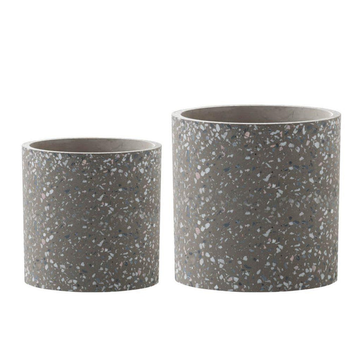 Adeline Set of Two Terrazzo Planters (Gray) | Pot & Planter | parker-gwen