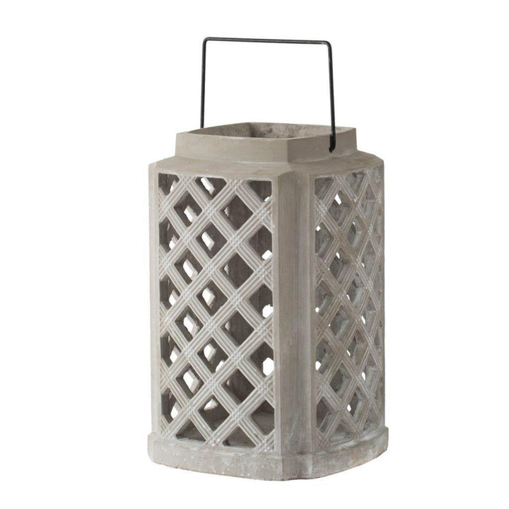"Lattice Cornered Cement 17"" Lantern 