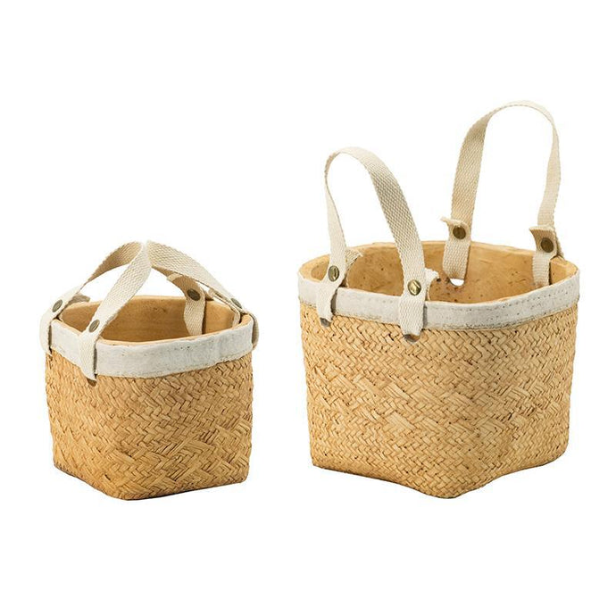 Grace Set of 2 Woven Basket Planters | Pot & Planter | parker-gwen