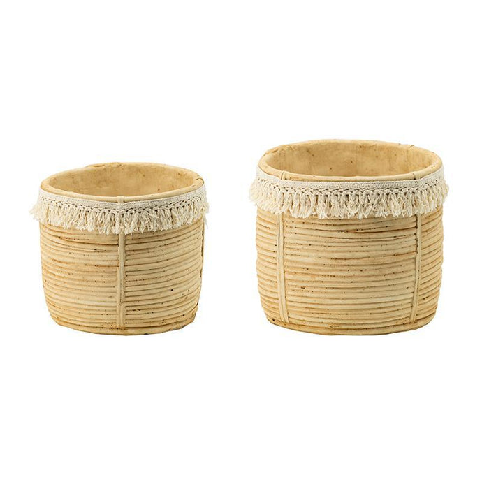 Gloria Set of 2 Twine Planters with Tassel Trim | Pot & Planter | parker-gwen