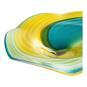 "Blue Curl 20"" Glass Wall Plate"