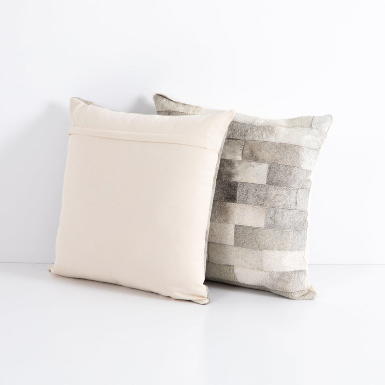 "Hardwin 20"" Hide Pillow - Set of 2 (Grey)"