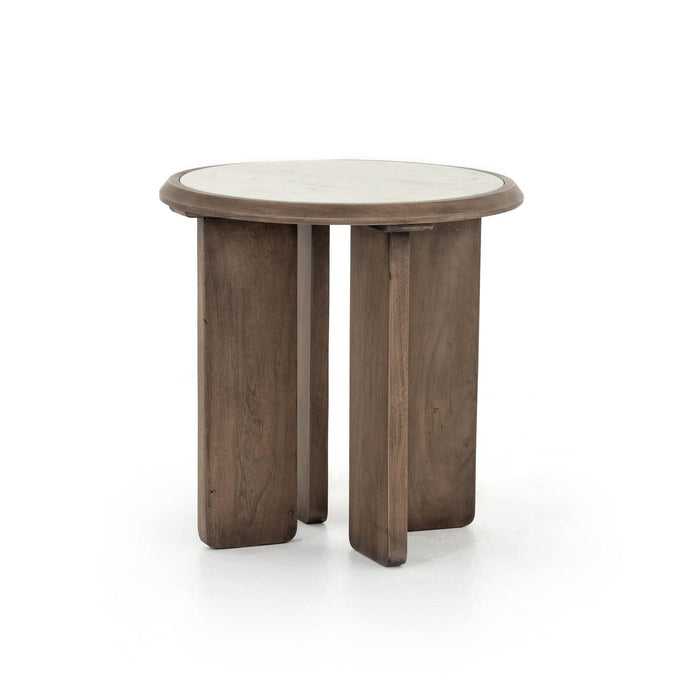 Britton Reclaimed Marbletop End Table | Side Table | parker-gwen