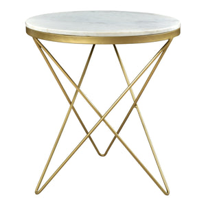 Haley Marble Top Side Table (Gold)