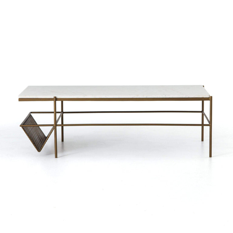 "Felicity 50"" Coffee Table with Rack (Matte Brass) - Marlow - Parker Gwen"