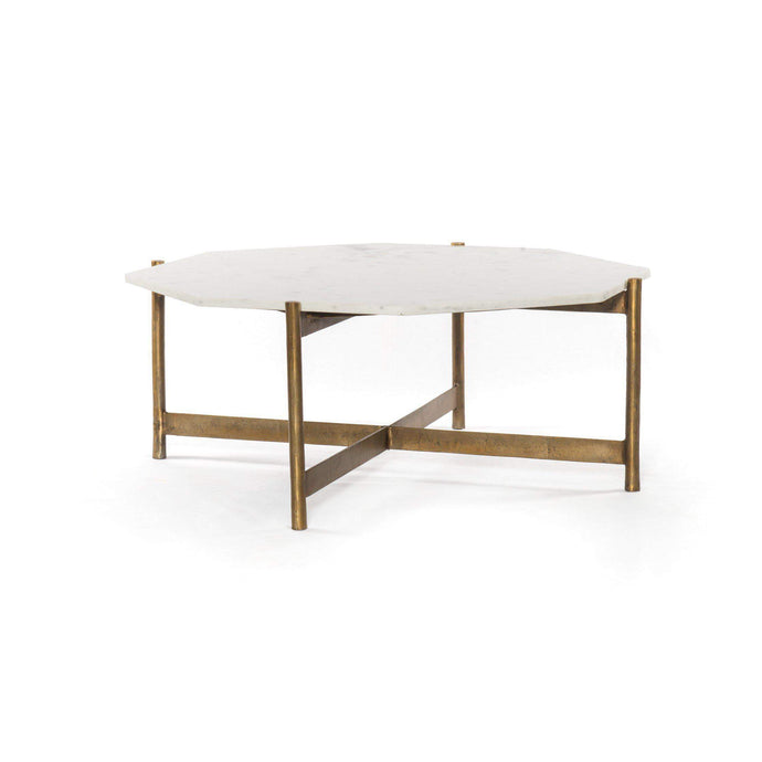 Adair Marble Coffee Table (Brass) - Marlow Collection - Parker Gwen