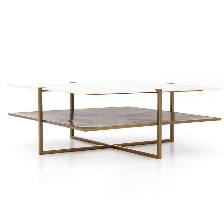 "Olivia 41"" Square Marble & Brass Coffee Table - Marlow Collection - Parker Gwen"