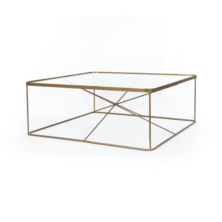 "Lucas 41"" Square Antique Brass Coffee Table - Marlow Collection 
