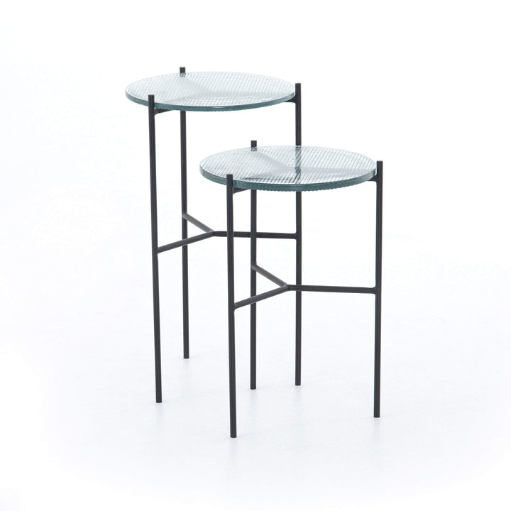 "Poppy 12"" Ribbed Glass End Tables (Set of 2) - Parker Gwen"